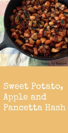 I subbed in bacon...easy and it turned out super tasty!  Regular potatoes/other root veggies would also work great. gluten/dairy/egg-free