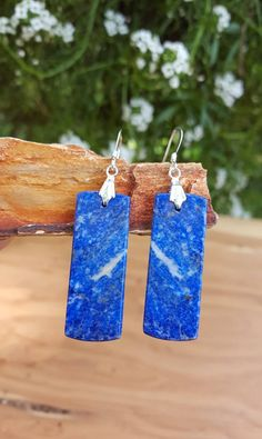 Rectangle Blue Lapis Lazuli Gemstone and Sterling Silver