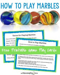 Playing marbles can be tons of fun for the whole family. Here is how to play marbles with a free printable instructions card included.