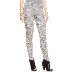Hue Cheetah Smooth Denim Leggings ($48) ❤ liked on Polyvore featuring pants, leggings, star white, white jeggings, white leggings, hue jeggings, jean leggings and white trousers