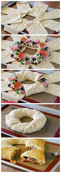 Puff pastry ring with sausage and cheese and vegetables- Blätterteig Ring mit Wurst und Käse und Gemüse Puff pastry ring with sausage and cheese and vegetables - Great Recipes, Favorite Recipes, Crescent Roll Recipes, Yummy Food, Tasty, Cooking Recipes, Healthy Recipes, Healthy Pizza, Pastry Recipes