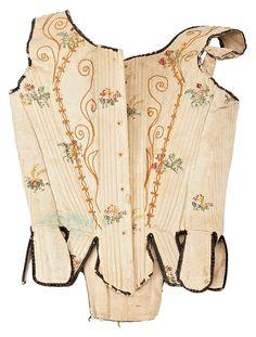 Corsé en seda adamascada y bordada, del segundo tercio del siglo XVIII