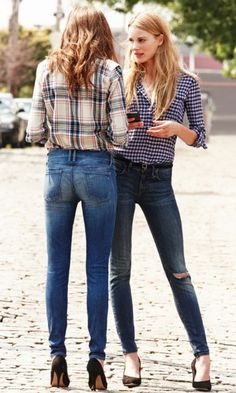 Flannel button downs tucked into the perfect jeans