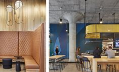 Studio BV Designs Modern and Minimalist Food Hall Concrete Structure, Bar Areas, Canteen, Custom Lighting, Modern Spaces, Tambour, White Oak, Shades Of Blue, Wood Furniture