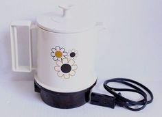 Vtg Regal Ware Electric Poly Hot Pot Coffee Tea Kettle 5 Cup Retro Flower Design #REGAL