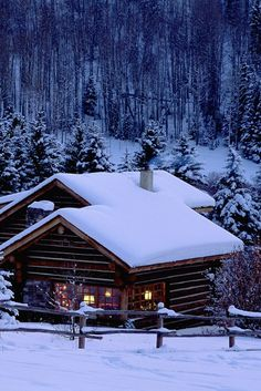 ~winter's night in this tiny log cabin nestled in the mountains