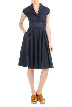 Fall winter 1940s day dress - eShakti Womens Pleat waist poplin shirtdress $59.95 AT vintagedancer.com