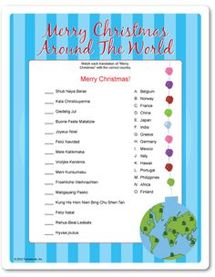 printable merry christmas around the world  this would be cute on the