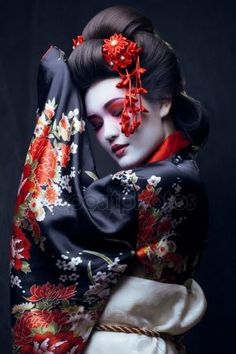 Picture of young pretty geisha in kimono with sakura and decoration stock photo, images and stock photography. Japanese Kimono, Japanese Art, Japanese Clothing, Traditional Japanese, Japanese Culture, Japanese Fashion, The Empress Of China, Geisha Art, Memoirs Of A Geisha