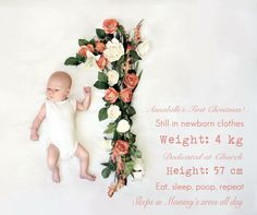 1 Month- monthly baby photo tracking done with flowers. Month by month flower baby photos.