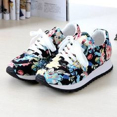 Fashion Floral Print Casual Flat Sneakers