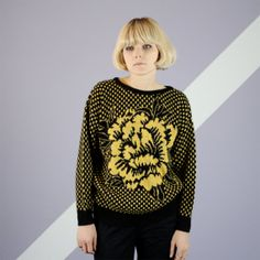 Checkered Floral Rose Print Sweater - M/L