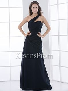 98ea4c4f6ac Asymmetrical Navy Long Floor Length Chiffon One Shoulder A-Line Formal  Dress - US$ 97.99 - Style KP1508 - Kevins Prom