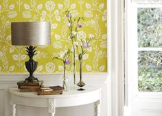 Harlequin Lucerne Chartreuse as it looks on the wall (selectwallpaper)