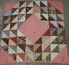 Primitive Antique Ocean Waves Cutter Quilt PC Browns Nice Old Fabrics 5   eBay, blarneyhouse