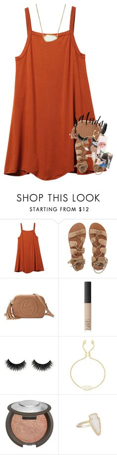 """""""i saw the cutest two puppies today omg"""" by classynsouthern ❤ liked on Polyvore featuring RVCA, Billabong, Gucci, Rawlings, NARS Cosmetics, Kendra Scott and Becca"""