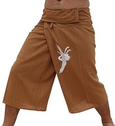 RaanPahMuang Fisherman Capri Pants Striped Cotton Japanese Woodblock Crane Bird Medium Brown * Click for Special Deals #JapaneseKawaii