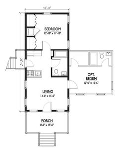 Optional room is a bit odd, but maybe with a glass door. Cottage Style House Plan - 1 Beds 1 Baths 576 Sq/Ft Plan #514-6 Main Floor Plan - Houseplans.com