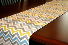 This runner would be super cute on the Spring brunch table.  I like how the modern chevron fabric livens up the spring colors.  Love the yellow, gray and aqua! I also like this could stay out all Spring long, not just on Easter.