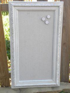 Antique White Magnet Board, Large ornate Victorian framed magnetic board. $102.00, via Etsy.