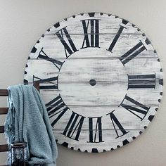Chalky Finish Over-Sized Wall Clock -- Super-size a wall clock for an elegant statement piece. #decoartprojects #chalkyfinish