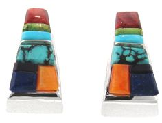 David Rosales Indian Summer Cobble Inlaid Sterling Silver Earrings