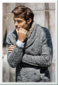 David Rosenberg for Basement Hombre F/W 13 men's double breasted grey knit cardigan