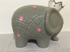 Personalized Lucky Large Grey Pink Flower Princess Crown Elephant Piggy Bank…