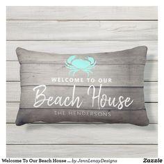 Welcome To Our Beach House Nautical Name Outdoor Lumbar Pillow Nautical Names, Handwritten Letters, Us Beaches, Home Reno, Outdoor Throw Pillows, Lumbar Pillow, Thank You Cards, Favorite Color, Beach House