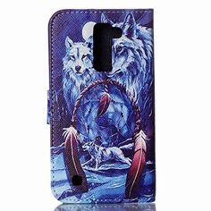Buy LG K10 Case, LG Premier LTE L62VL L61AL Case, M-Zebra LG K10 Wallet Case [Wallet Function] Flip Cover Leather Case for LG K10 (2016), with Screen Protectors+Stylus (Wolf) NEW for 4.99 USD | Reusell
