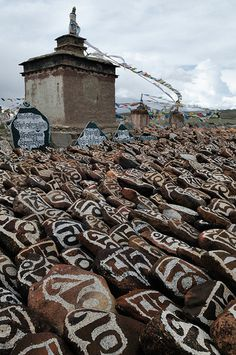 Hand Carved Mani Stones (mantra of Chenrezig-Om Mani Padme Hum), Tibet