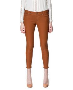 Caramel Coated Trousers - Zara