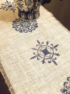 White Burlap Table Runner with Cobalt Blue by byCamilleDesigns
