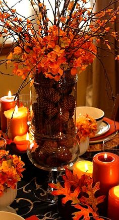 Thanksgiving decorations - Leaves and orange candles make for the perfect intimate Thanksgiving table setting. Thanksgiving decorations - Leaves and orange candles make for the perfect intimate Thanksgiving table setting. Fall Crafts, Holiday Crafts, Fall Table Centerpieces, Fall Table Decorations, Table Arrangements, Thanks Giving Table Decorations, Wedding Centerpieces, Diy Thanksgiving Centerpieces, Thanksgiving Tablescapes