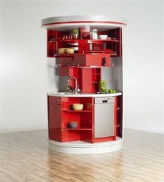 kompakte runde Kücheninsel offene Regale