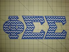 PHI SIGMA SIGMA SORORITY 5 INCH GREEK IRON ON LETTERS (NO SEW) - CHEVRON/BLUE