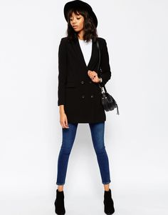 Image 4 of ASOS Double Breasted Longline Jacket
