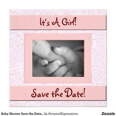 Baby Shower Save the Date Pink and Brown Girl