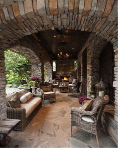 Outdoor Patio with Stone Roof