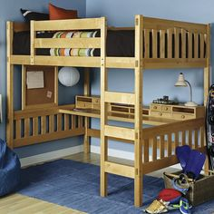 Gabriel Natural Full Loft with Media Cart. Gabriel Natural Full Loft with Media Cart . Loft Bed Desk, Build A Loft Bed, Loft Bed Plans, Bunk Bed With Desk, Bunk Beds With Stairs, Desk Plans, Bed Stairs, Wood Bunk Beds, Kids Bunk Beds