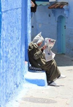 Reading in Chefchaouen, Morocco Blue City Morocco, Morocco Chefchaouen, Atlas Mountains Morocco, Rock The Kasbah, Excursion, North Africa, World Cultures, Arabesque, Marrakech