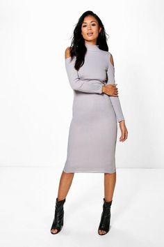 boohoo Di Rib Cold Shoulder High Neck Midi Dress