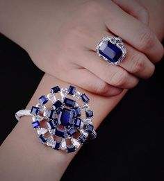 """A set of natural Burmese """"Royal Blue"""" sapphires and diamonds by FORMS #formsjewellery #finejewelry #highjewelry #burmesesapphire #royalblue #diamond #bluesapphire #sapphirering #sapphirebangle"""