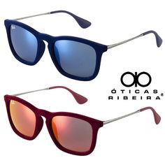 5ebd25f2edefb Ray Ban Chris Velvet! Novas cores! Em azul escuro e vinho, um luxo! Óculos  em veludo, lentes espelhadas combinando com a armação!