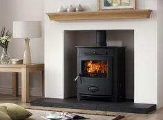 wood stove in fireplace