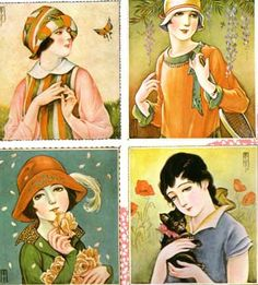 Kashō's girls and their pastoral surrounds from a series of covers of Girls' Illustrated.