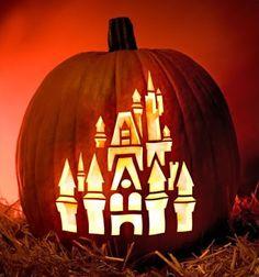 Halloween Every Day: Free Disney Pumpkin Stencils. Love this one of Cinderella's castle.