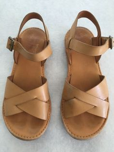 Kork-Ease Corine Tan Sandals Open Toe Strappy size 7 #KorkEase #Strappy