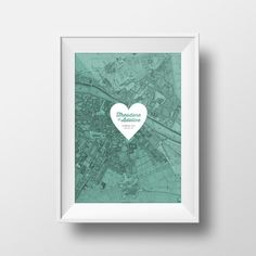 Engagement Gift | Love Story Map Customizable and Printable- Paris, Florence, Rome, Boston, Maine, Vermont... anywhere in the world