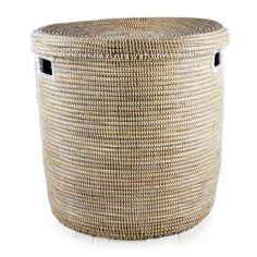 "White African Basket Hamper With Lid - Large (21.5""h)"